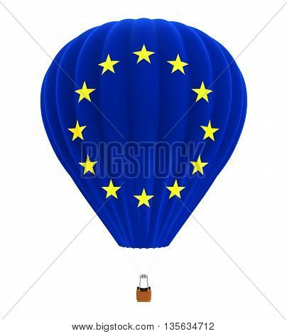 Hot Air Balloon with Flag of European Union isolated on white background. 3D render