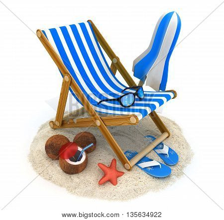 Beach bed blue and tent (done in 3d rendering)