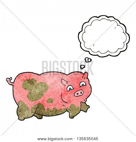 freehand drawn thought bubble textured cartoon pig