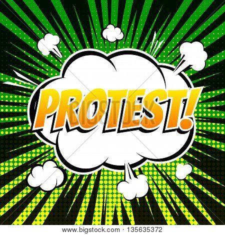 Protest comic book bubble text retro style