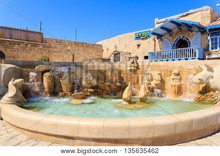 JAFFA ISRAEL SEPTEMBER 17 2015: Kedumim square in old Jaffa Israel Zodiac Fountain