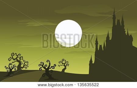 Big castle scenery Halloween and full moon with green backgrounds