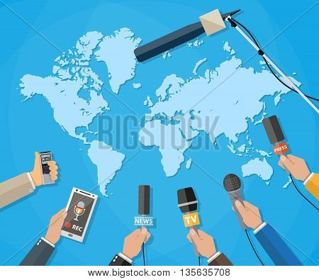 Few hands of journalists with microphones, tape recorder and smartphone. journalism, live report, hot news, television and radio casts concept. vector illustration in flat style, world map background