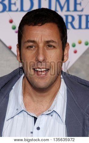 Adam Sandler at the Los Angeles premiere of 'Bedtime Stories' held at the El Capitan Theater in Hollywood, USA on December 18, 2008.