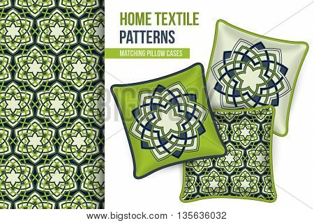 Pattern and Set of 3 matching decorative throw pillows with this pattern applied. Abstract green flowers. Vector illustration.