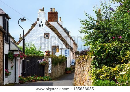 Crail Scotland - July 26 2012: Fife areatraditional houses of the village.