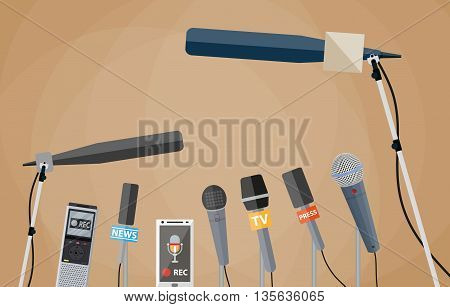 Microphones, tape recorder and smartphone with voice recorder app. journalism, live report, hot news, television and radio casts concept. vector illustration in flat style, brwon background