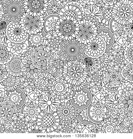 Full frame outline of circular seamless pattern with shapes of hearts  flowers  leaves and intricate lines