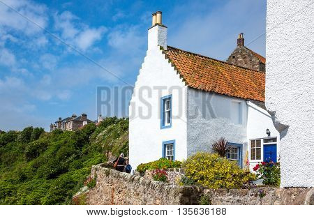 Crail Scotland - July 26 2012: Fife area traditional houses of the village.