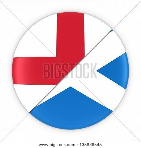 English And Scottish Relations - Badge Flag Of England And Scotland 3D Illustration