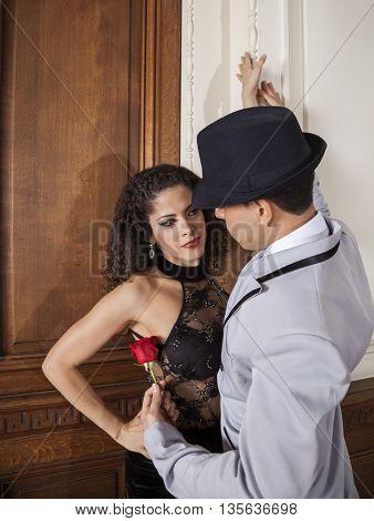 Tango Dancer Holding For Partner In Restaurant
