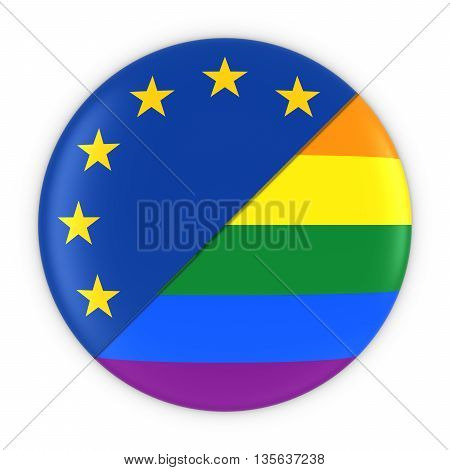 Gay Pride In Europe - Rainbow Flag Badge And Eu Flag 3D Illustration