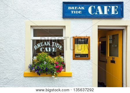Anstruther Scotland - July 26 2012: Fife area a cafe in the fishermen village.