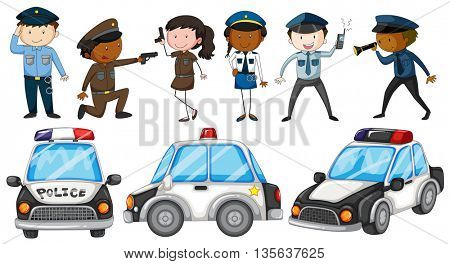 Police officers and police cars illustration