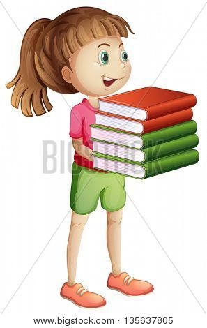 Girl carrying many books illustration