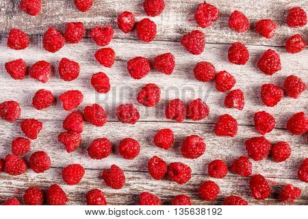 Summer Fresh Fruits. Raspberry On Wooden Table
