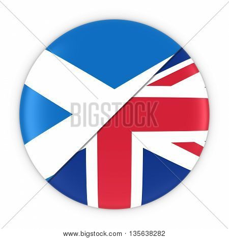 Scottish And British Relations - Badge Flag Of Scotland And Uk 3D Illustration
