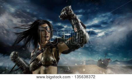 Sexy Biker Woman With The Metal Arm On The Apocalypse Desert Storm Background.