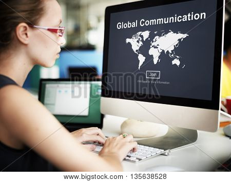 Global Communication Information Message Concept
