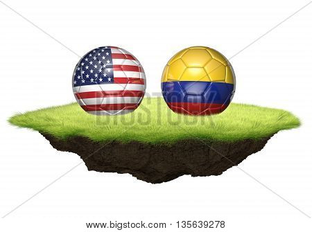 United States vs Colombia team balls for football championship tournament, 3D rendering