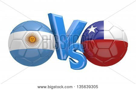 Football competition between national teams Argentina and Chile, 3D rendering