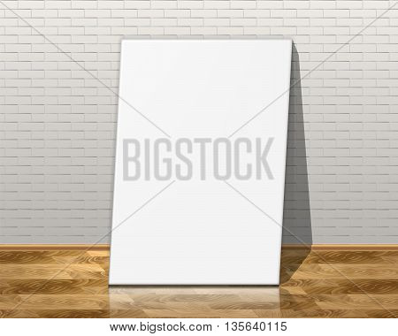Picture frames on brick wall and the wooden floor. Vector illustration.