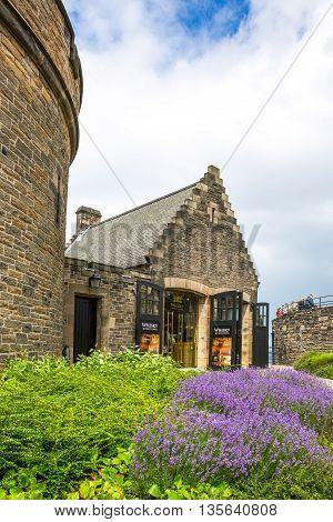 Edinburgh Scotland - July 28 2012: A whisky store in the Edinburgh castle