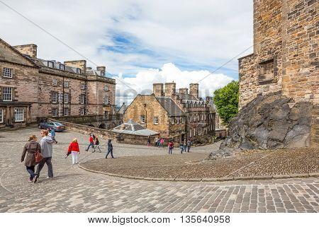 Edinburgh Scotland - July 28 2012: Tourists in the internal routes of the Edinburgh castle