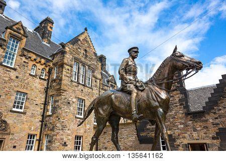 Edinburgh Scotland - July 28 2012: he equestrian statue of the Field Marshal Earl Haig in the Edinburgh castle.