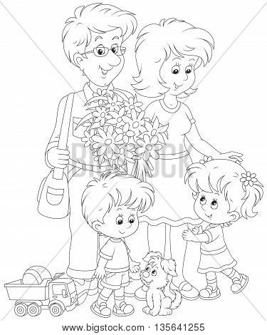 Happy family together. Black and white vector illustration of a mother, a father, their little children and a small pup