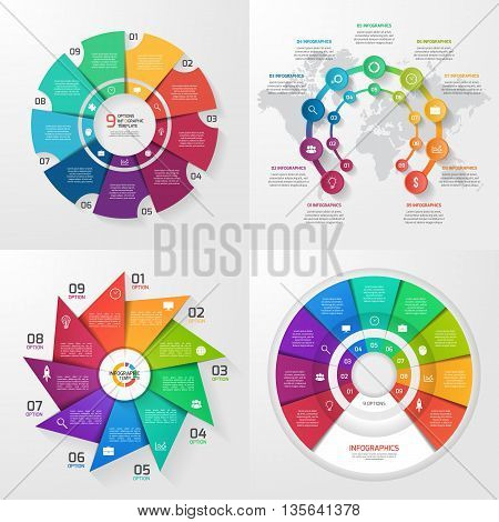 Set of four vector infographic templates. Business education industry science concept with 9 values options parts steps processes.