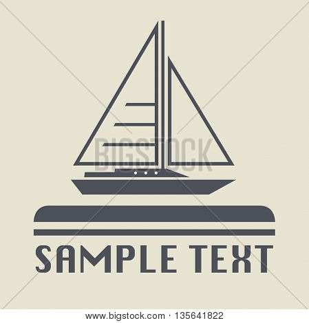 Abstract Yacht icon or sign vector, illustration
