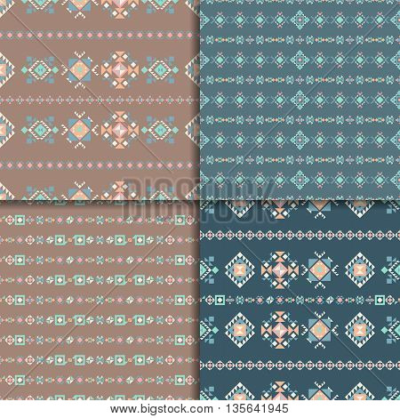 Geometric ethnic seamless pattern set. Aztec geometric backgrounds. Vector ornament, abstract seamless pattern.