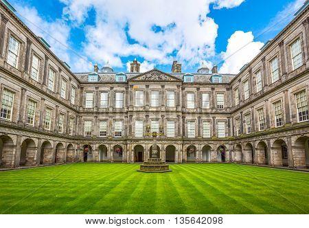Edinburgh Scotland - July 28 2012: The Quadrangle of the Holyroodhouse Palace.