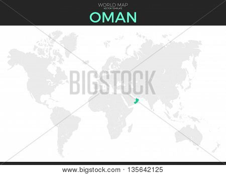 Sultanate of Oman location modern detailed vector map. All world countries without names. Vector template of beautiful flat grayscale map design with selected country and border location