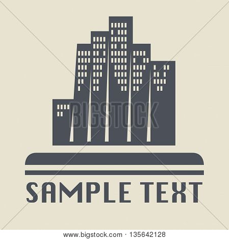 Abstract Skyscraper icon or sign, vector illustration