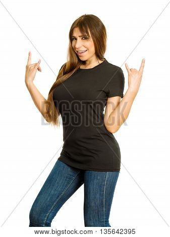 Photo of a sexy brunette woman with blank black shirt making devil horn hand gesture. Ready for your design or artwork.