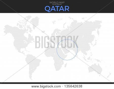 State of Qatar location modern detailed vector map. All world countries without names. Vector template of beautiful flat grayscale map design with selected country and border location