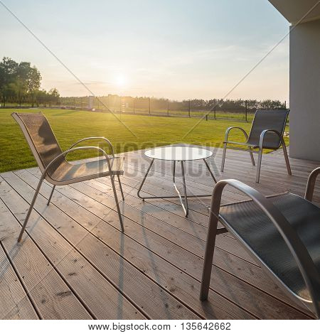 Sunset On Modern Patio