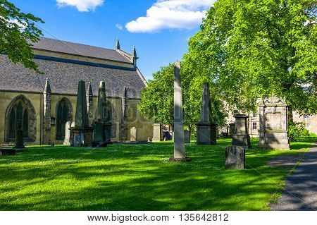 Great Britain Scotland Edinburgh the garden and cemetery of the Greyfriars Kirk.