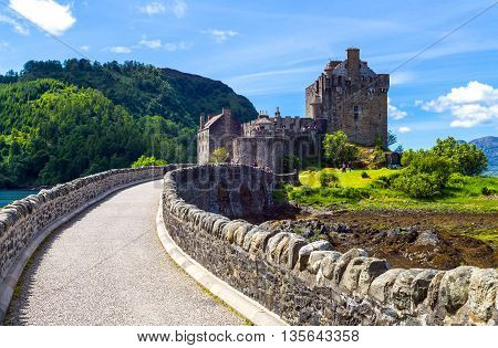 Lochash Scotland - June 20 2012: Highlands the bridge to the Eilean Conan castle.