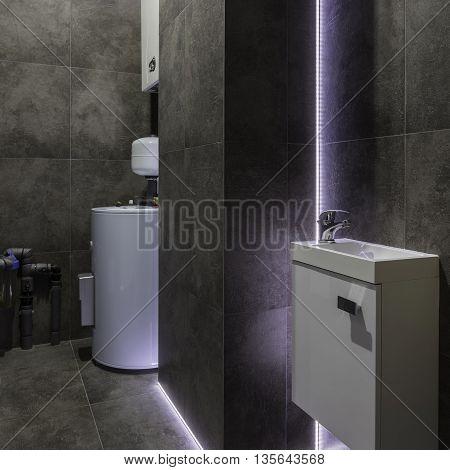 Dark Boiler Room With Decorative Led Light