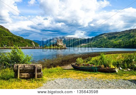 Great Britain Scotland Highlands landscape with the Eilean Conan castle in the background.