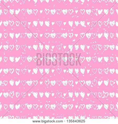 Doodle pink seamless pattern with hearts. Seamless heart pattern. Valentines day background