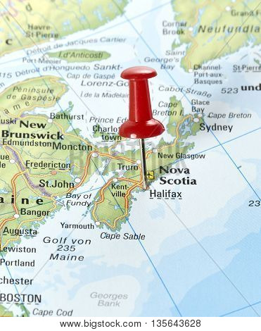 Map with pin set on Halifax, Canada.