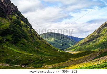 Great Britain Scotland Highlands the famous Glen Coe mountains.