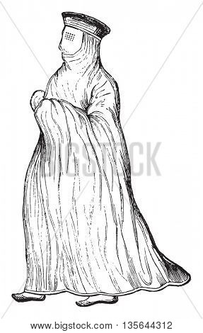 Muslim woman, vintage engraved illustration. Magasin Pittoresque 1836.