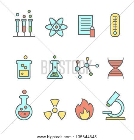 Scientific experiments, chemistry and bio technology line colored icons