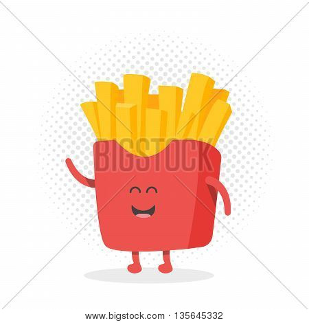 Kids restaurant menu cardboard character. Template for your projects, websites, invitations. Funny cute drawn french fries, with a smile, eyes and hands.