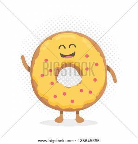 Kids restaurant menu cartoon cardboard character. Template for your projects, websites, invitations. Funny cute donut drawn with a smile, eyes and hands.